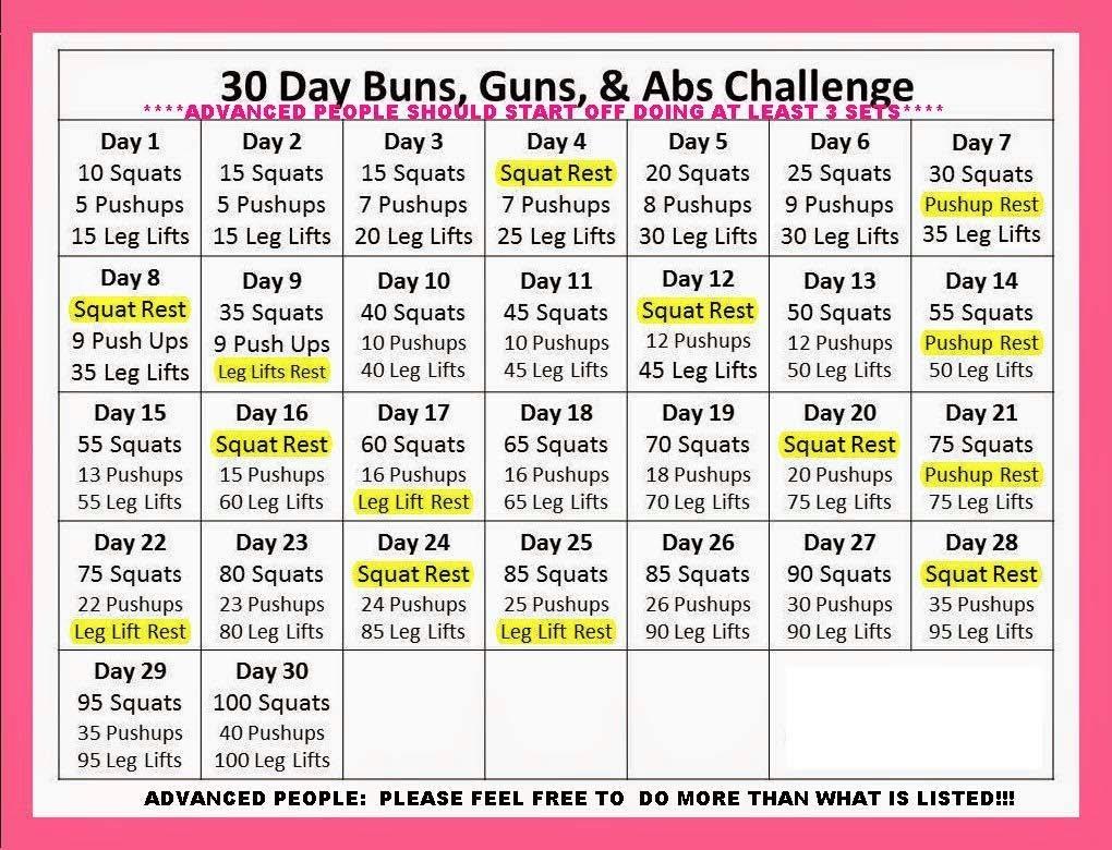 "Abs, Buns And Guns"" - 30 Day Progressive Challenge"
