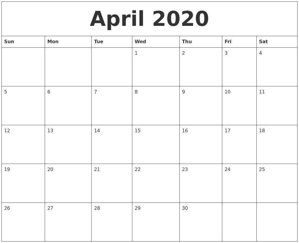 April 2020 Calendar Pdf, Word, Excel Printable Template
