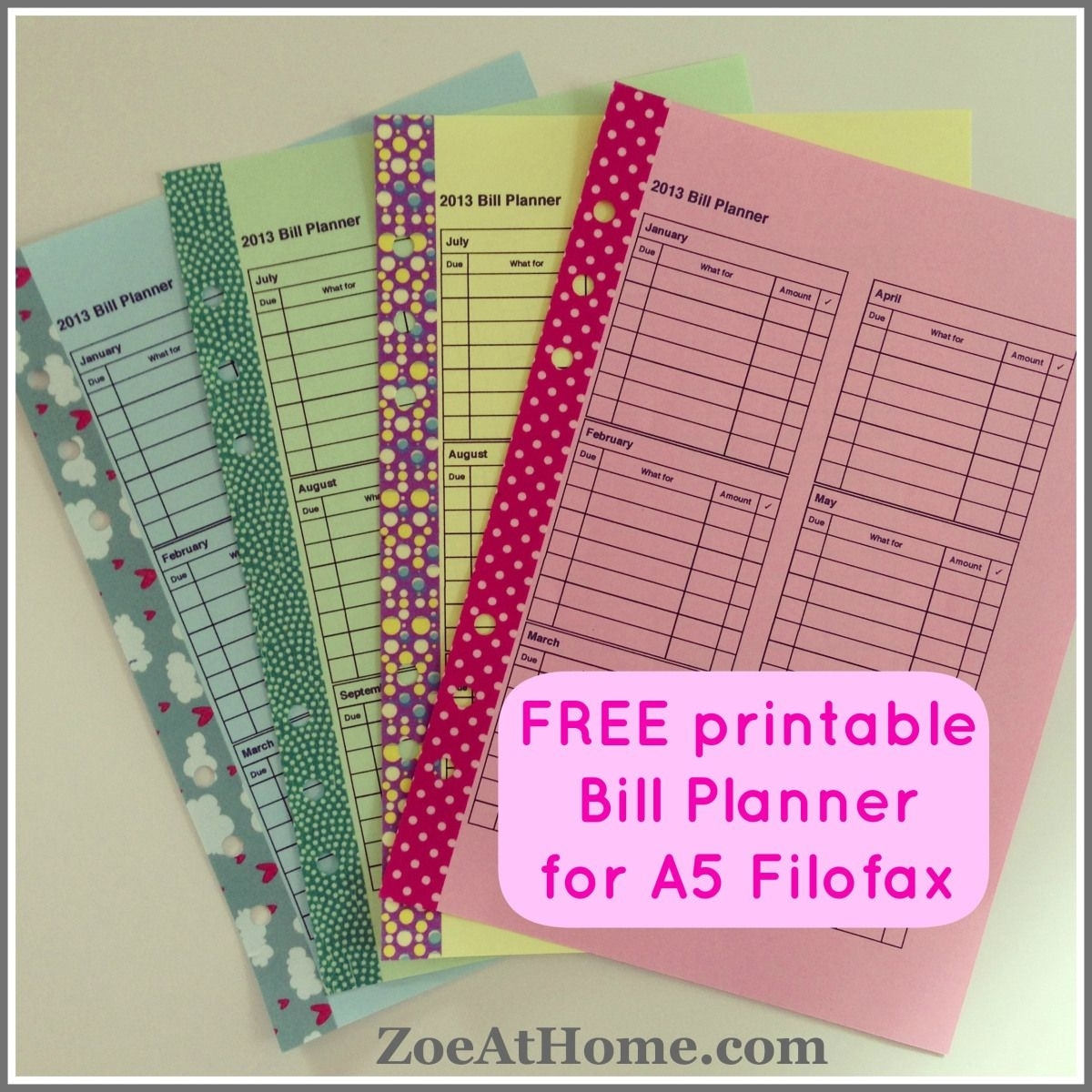 Free Pdfs (With Images) | Bill Planner, Planner Printables