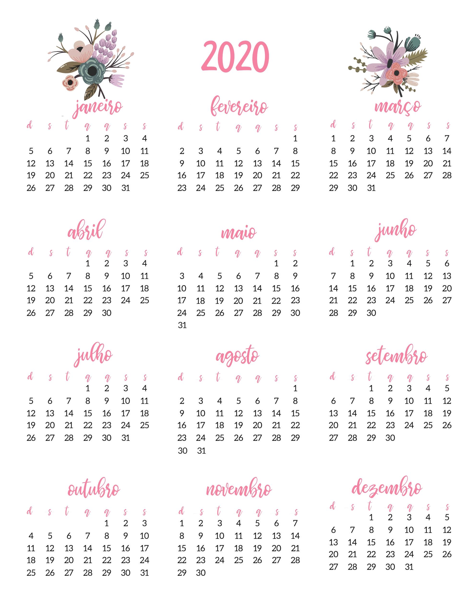 Planner 2020 Floral Rosa Pdf Calendário Feriados Nacionais