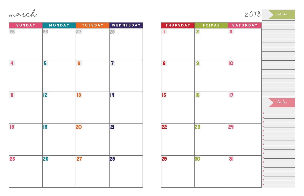2018 Monthly Planner | Free Printable Calendar, 2-Page Spread