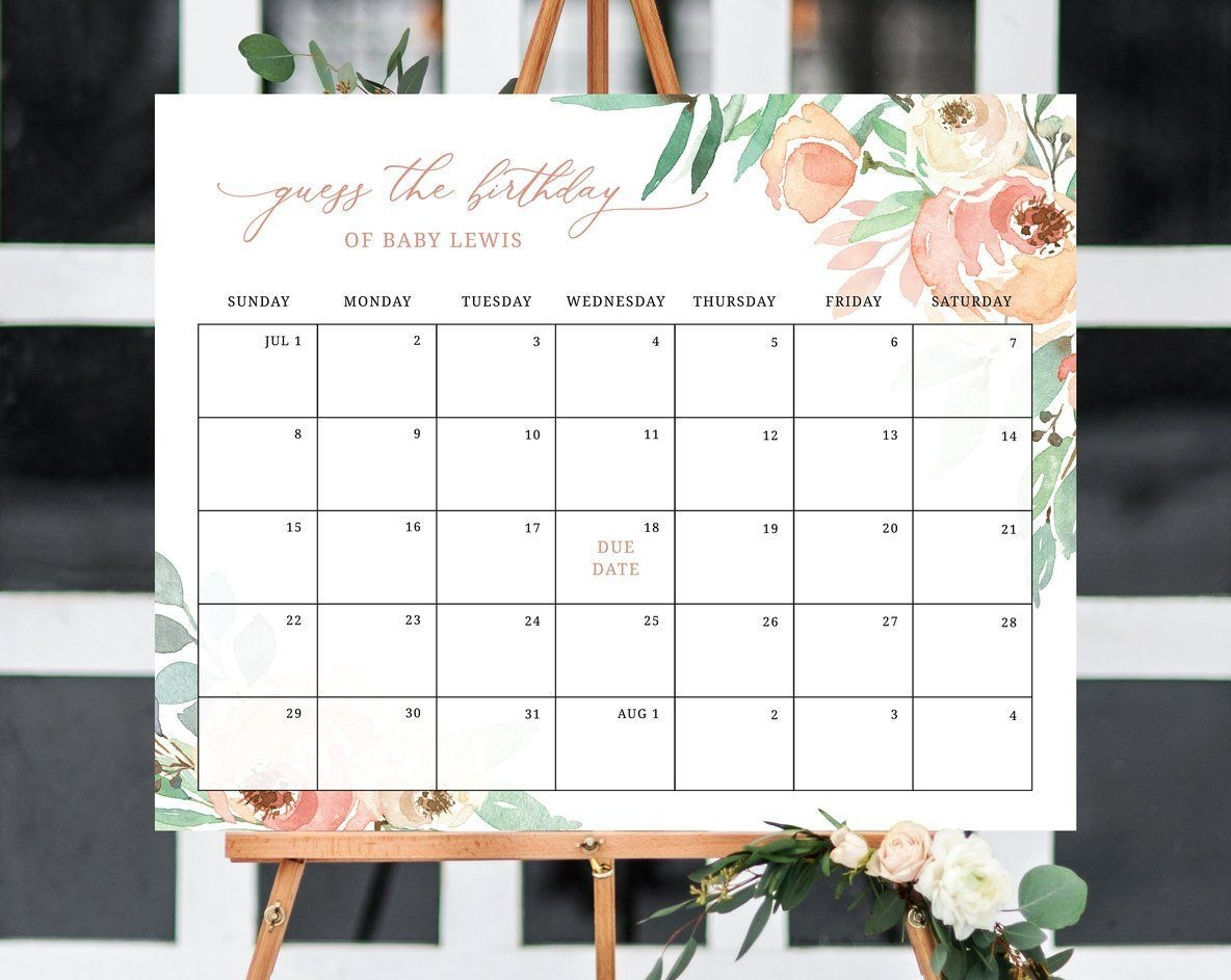 Create Your Guess The Due Date Printable Calendar | Get