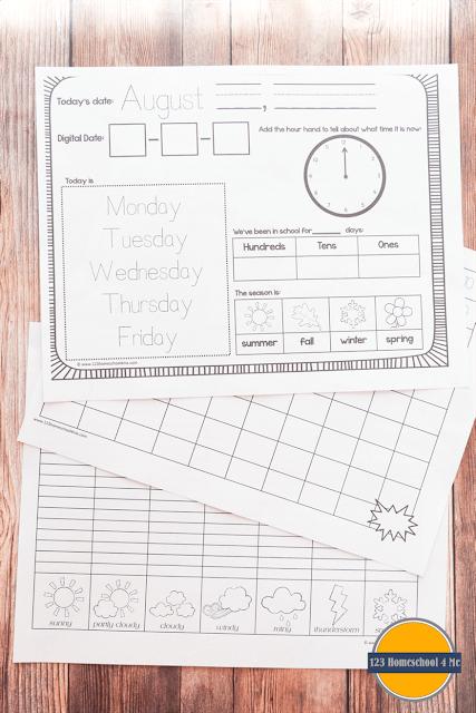 Free Kindergarten Daily Calendar Notebook