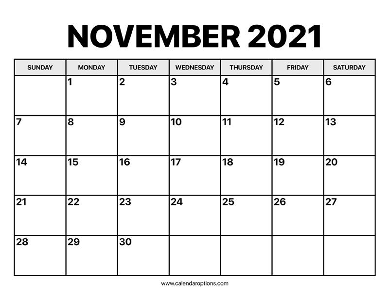November Calendar 2021 - Calendar Options