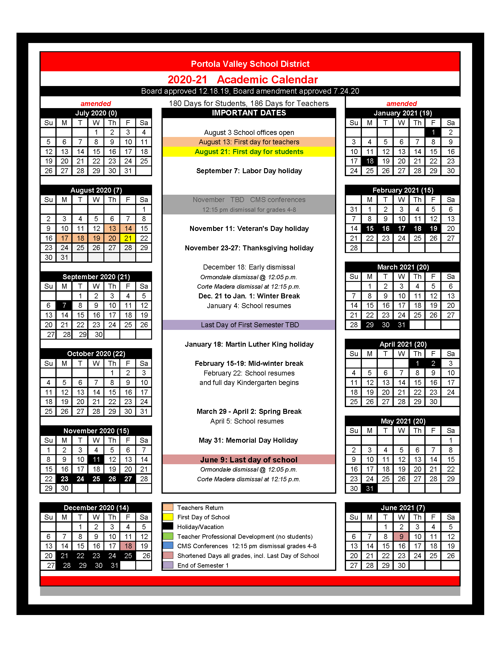2020-2021 School Year Calendar - Ormondale School