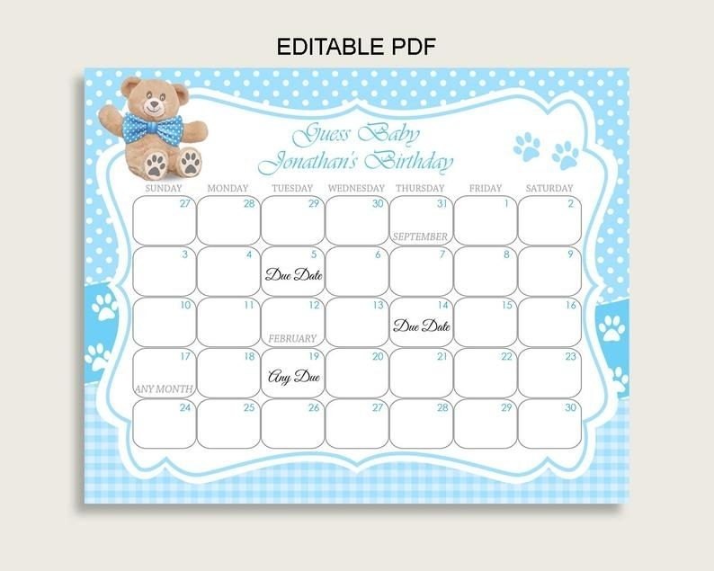 Blue Brown Guess Baby Due Date Calendar Game Printable In