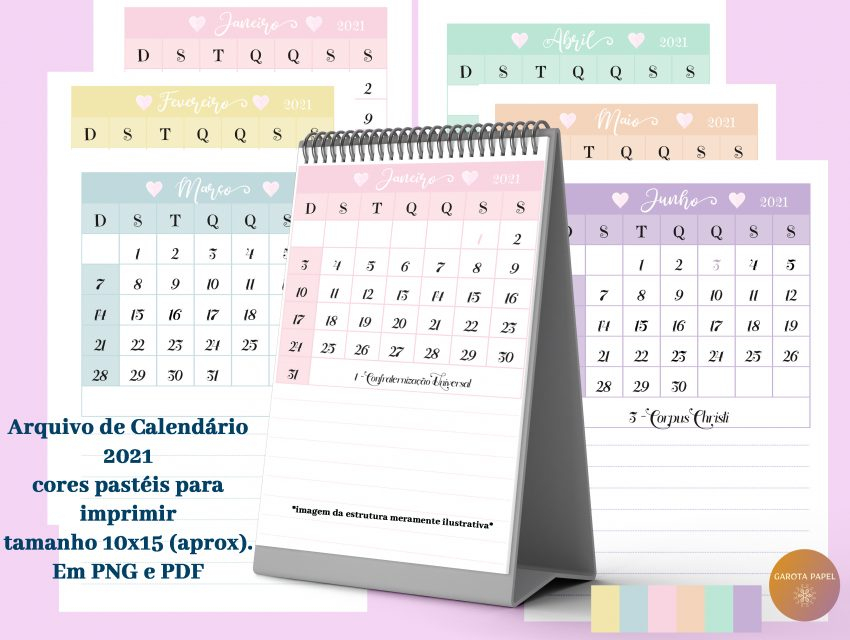 Calendários 2021 Para Imprimir
