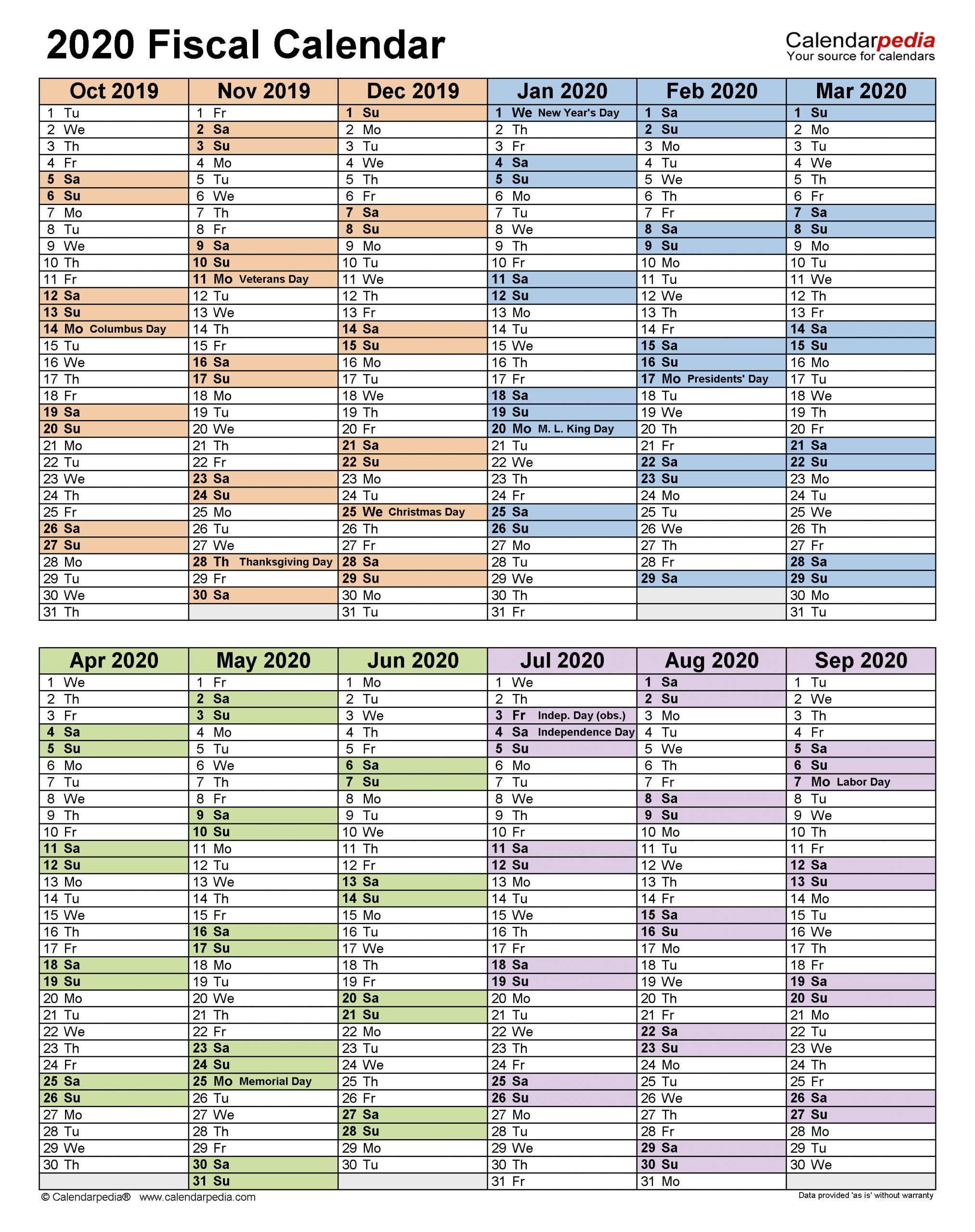 Financial Year Calendar 2020 2021 - Template Calendar Design