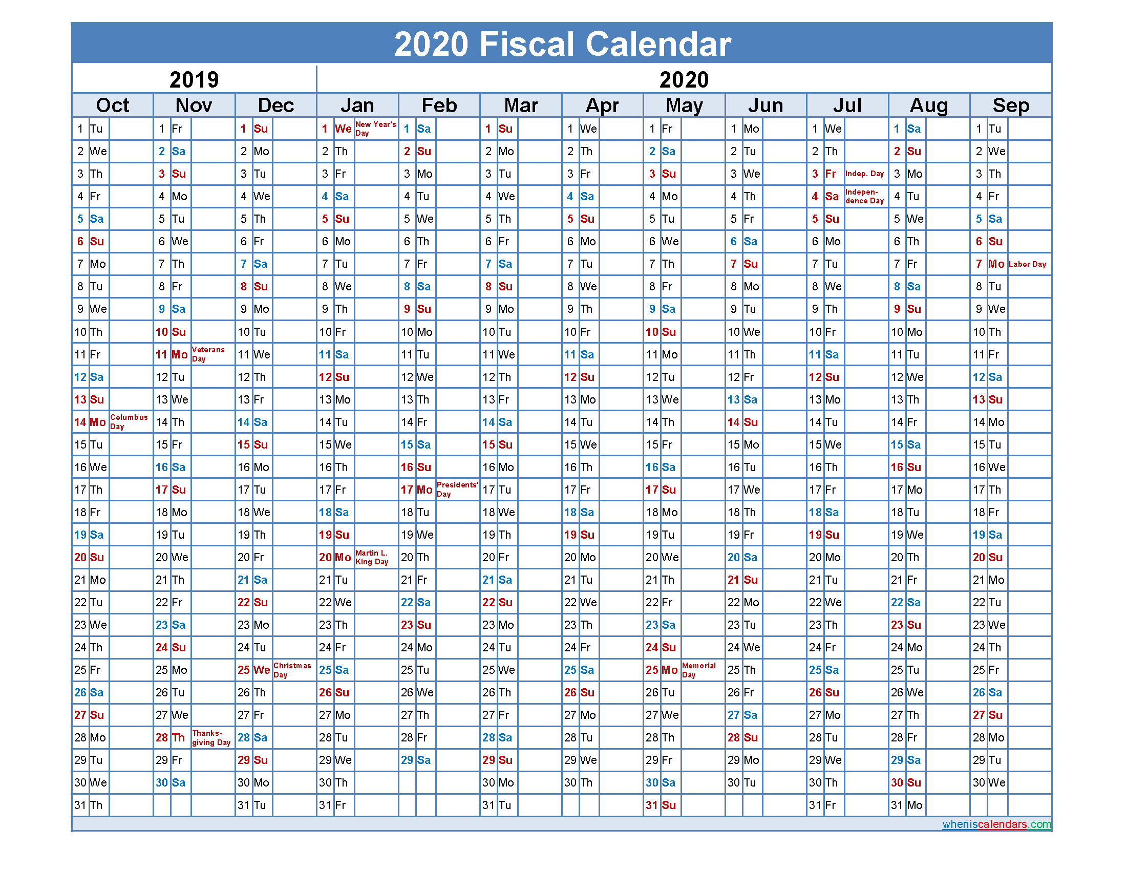 Fiscal Month Calendar 2020 - Template Nofiscal20Y32