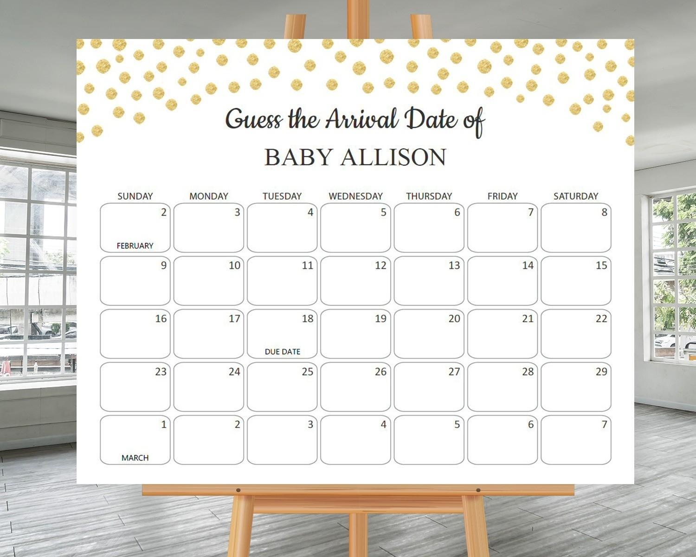 Printable Baby Shower Calander | Calendar Template 2021